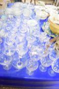 WINE GLASSES, GLASS CANDLESTICK ETC