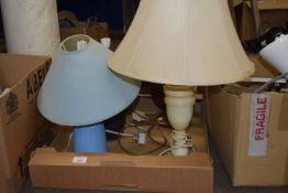 BOX CONTAINING LAMPS AND SHADES