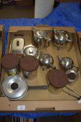 BOX OF STAINLESS STEEL KITCHEN WARES, TEA POTS, HOT WATER JUGS ETC