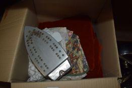 BOX CONTAINING VARIOUS FABRICS, TOWELS AND AN IRON
