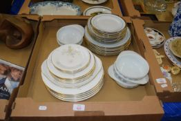 TRAY CONTAINING CROCKERY, SOME BY ROYAL DOULTON IN THE FLIRTATION PATTERN COMPRISING DINNER