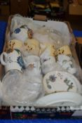 BOX OF KITCHEN ITEMS INCLUDING ROYAL WORCESTER PALMYRA CUPS AND SAUCERS