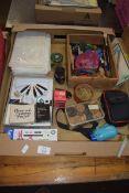 BOX CONTAINING EBONY AND BOXWOOD DRAUGHTS, OSMIROID PEN SET ETC
