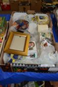BOX OF GLASS WARES AND POTTERY BOWLS INCLUDING LARGE ROYAL WORCESTER EGG CODDLER