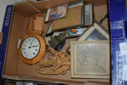 BOX CONTAINING WALL CLOCK, PICTURES AND PRINTS