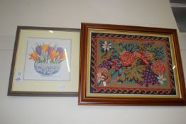 THREE PICTURES, EMBROIDERIES OF FLOWERS ETC