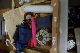 BOX CONTAINING UMBRELLAS, SMALL CUSHION ETC
