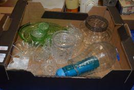 BOX OF GLASS WARES, JARS ETC