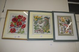 THREE FRAMED EMBROIDERIES, TWO OF FLOWERS, ONE OF DUCKS