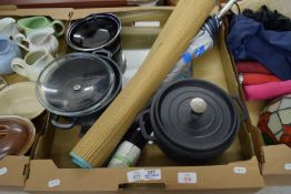TRAY CONTAINING KITCHEN WARES, TWO LARGE CASSEROLES, AN UMBRELLA AND RUSH MAT