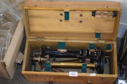 WOODEN BOX WITH VARIOUS MEASURING EQUIPMENT