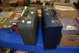TWO VINTAGE SUITCASES WITH BEA LOGOS