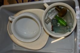 BOX CONTAINING BED PANS AND POTS TOGETHER WITH MINIATURE GLASS BOTTLES