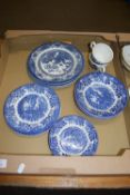 TRAY CONTAINING BLUE AND WHITE WARES