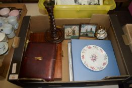 TRAY CONTAINING BOXED SET OF PLATED FISH KNIVES, TWO SMALL DUTCH STYLE TILES, WOODEN CANDLESTICK