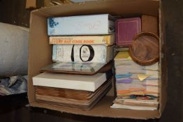 BOX CONTAINING COOKERY BOOKS, COASTERS ETC