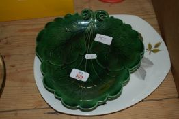 PAIR OF GREEN GLAZED WEDGWOOD STYLE POTTERY DISHES, TOGETHER WITH A FURTHER SERVING DISH