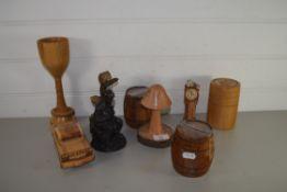 TREEN ITEMS, MINIATURE CLOCK, FIELD MICE ON CORN, TWO SMALL BARRELS