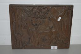 CARVED WOODEN PANEL WITH DEER IN RELIEF