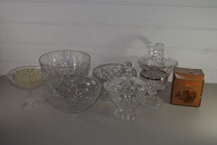 QUANTITY OF CUT GLASS WARES INCLUDING BOWLS, SMALL BASKET, VASE WITH SILVER METAL RIM