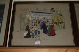 TWO PRINTS OF CHILDREN BY THE SEASIDE AND HIGH STREET