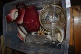 PLASTIC BOX CONTAINING MAINLY GLASS WARES INCLUDING CANDLESTICK, SODA SIPHON, ENGRAVING FOR CALEY