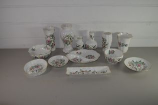 COLLECTION OF AYNSLEY PEMBROKE PATTERN WARES COMPRISING VASE, SMALLER VASES, PIN DISHES ETC