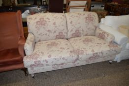 FLORAL SOFA, GOOD QUALITY, WITH TURNED LEGS, LENGTH APPROX 170CM