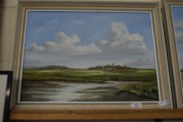 OIL ON BOARD, K J COURSE, CLEY MARSHES, APPROX 37 X 50CM