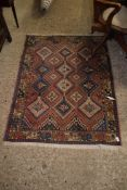 RUG WITH GEOMETRIC STYLISED DESIGN, APPROX 144 X 110CM