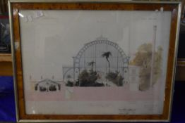 """FRAMED FRENCH ARCHITECTURAL ILLUSTRATION, """"THE MUSEUM D'HISTOIRE NATURELLE"""" DATED 1855, FRAME SIZE"""