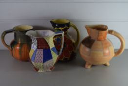 FOUR ART DECO STYLE JUGS, ONE BY TRENTHAM POTTERY