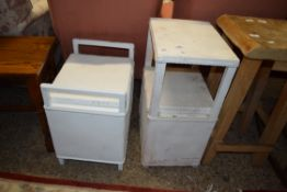 PAINTED BEDSIDE TABLE AND STOOL