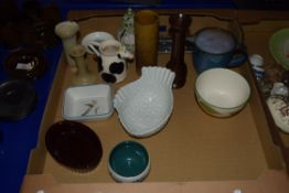 CERAMIC ITEMS INCLUDING DENBY DISH, SMALL DISH MODELLED AS A FISH ETC