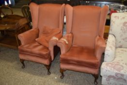 PAIR OF FIRESIDE CHAIRS, EACH WIDTH APPROX 74CM