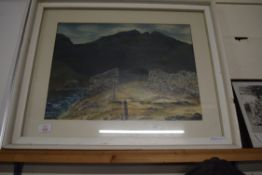 """PEN, INK AND WATERCOLOUR """"SNAKE PASS"""" SIGNED E LONGHORN LOWER RIGHT, APPROX 35 X 46CM"""