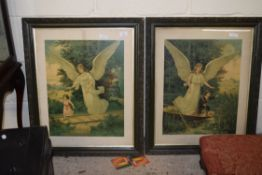 PAIR OF LATE 19TH/EARLY 20TH CENTURY PRINTS, POSSIBLY AMERICAN, DEPICTING GUARDIAN ANGELS
