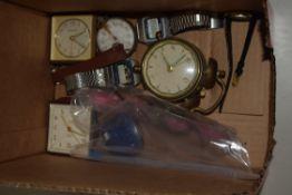 BOX CONTAINING ALARM CLOCKS AND OTHER CLOCKS