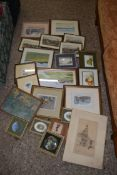 BOX CONTAINING VARIOUS PICTURES INCLUDING WATERCOLOURS, PRINTS