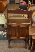 """""""OLD CHARM"""" OAK REPRODUCTION POT CUPBOARD WITH LINENFOLD DECORATION, WIDTH APPROX 50CM"""