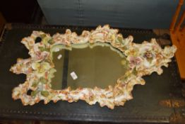 LARGE AND IMPRESSIVE HAND FINISHED CERAMIC FRAMED MIRROR WITH FLORAL DECORATION, MAX APPROX 87 X