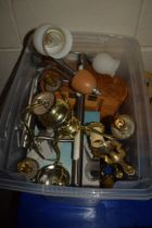 PLASTIC BOX CONTAINING WALL LIGHTS AND SMALL CHANDELIER