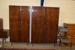 1960S FIVE PIECE RETRO BEDROOM SET IN WALNUT EFFECT, COMPRISING MIRROR BACK DRESSING TABLE, BED HEAD