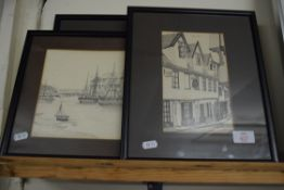 SELECTION OF FRAMED LOCAL INTEREST PRINTS INCLUDING ELM HILL, NORWICH, LONG MEG SUNSET, SIGNED TO