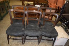 SET OF SIX UPHOLSTERED BAR BACK CHAIRS, EACH HEIGHT APPROX 83CM