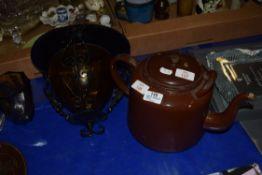 LARGE METAL TEA POT