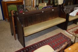 UPHOLSTERED PAINTED WOOD SETTLE, LENGTH APPROX 177CM
