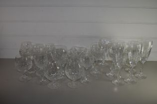 GLASS WARES INCLUDING WINE GLASSES ETC