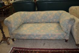 MAHOGANY FRAMED TWO SEATER SOFA WITH TURNED LEGS, LENGTH APPROX 170CM
