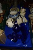 BLUE GLASS WARES AND POTTERY ITEMS
